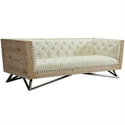 Armen Living Regis Tufted Fabric Sofa in Cream