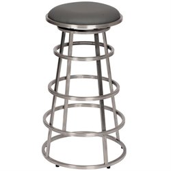 Armen Living Ringo Faux Leather Stainless Steel Counter Stool in Gray