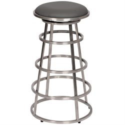 Armen Living Ringo Faux Leather Stainless Steel Bar Stool in Gray