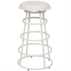 Armen Living Ringo Faux Leather Metal Bar Stool in White