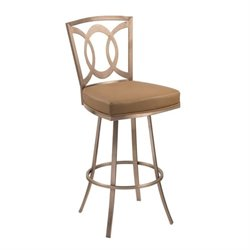 Armen Living Drake Faux Leather Swivel Bar Stool in Gold