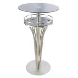 Armen Living Yukon Glass Top Round Bar Table in Gray