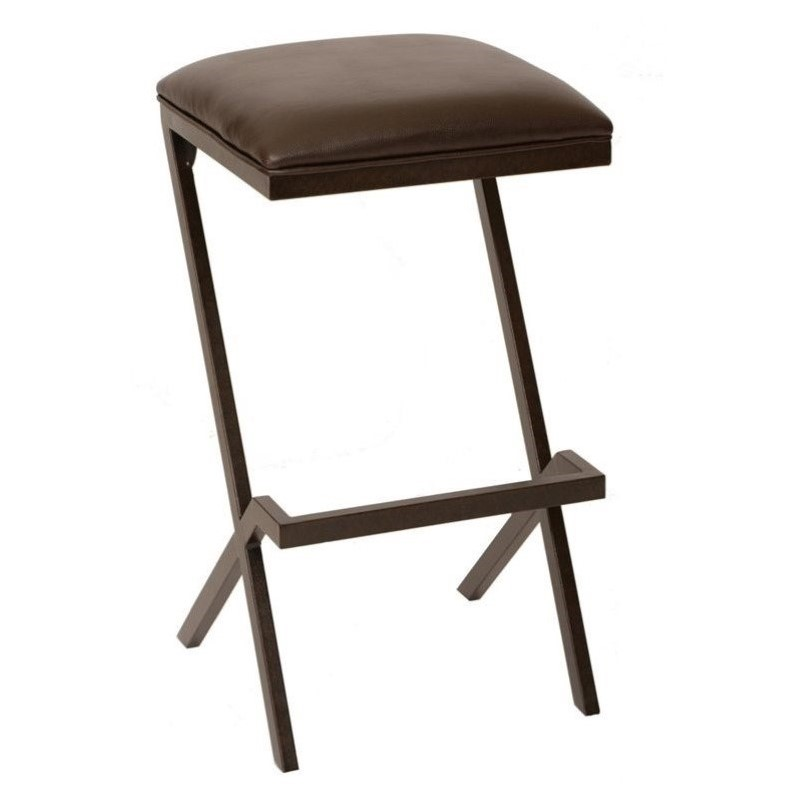 Armen Living Sasha Faux Leather Metal Counter Stool In