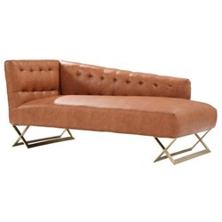 Armen Living Jasper Faux Leather Chaise in Gold