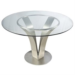 Armen Living Cleo Glass Top Round Dining Table in Stainless Steel