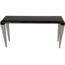 Armen Living Chow Marble Top Console Table in Black