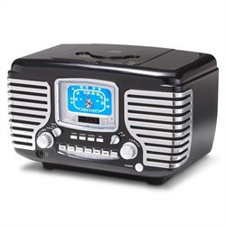 Crosley Radio Corsair Alarm Clock Radio with CD Player in Black