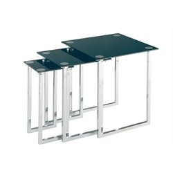 Lite Source Dane 3 Piece Glass Top Nesting Table Set in Chrome