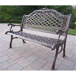 Oakland Living Mississippi Cast Aluminium High Back Bench in Antique Bronze