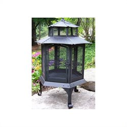 Oakland Living Pagoda Wood Burning Metal Firepit in Black
