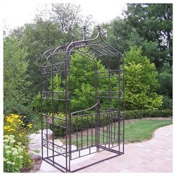Oakland Living Gothic Arbor with Gate and Base in Hammer Tone Brown