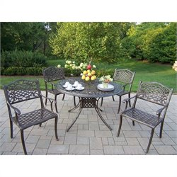 Oakland Living Capitol 5 Piece Metal Patio Dining Set in Bronze