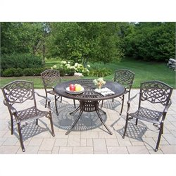 Oakland Living Sunray 5 Piece Metal Patio Dining Set in Antique Bronze I