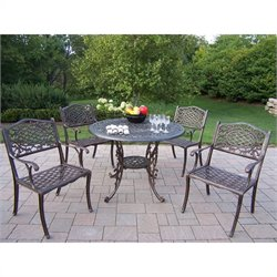 Oakland Living 5 Piece Metal Patio Dining Set in Antique Bronze II