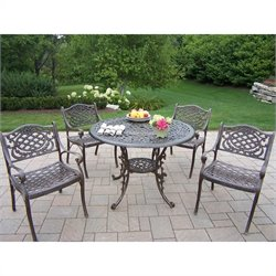 Oakland Living 5 Piece Metal Patio Dining Set in Antique Bronze III