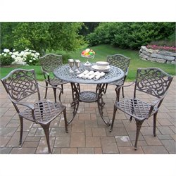 Oakland Living 5 Piece Metal Patio Dining Set in Antique Bronze I