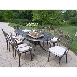 Oakland Living 9 Piece Metal Patio Dining Set in Antique Bronze