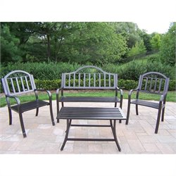 Oakland Living Rochester 4 Piece Patio Set in Hammer Tone Bronze
