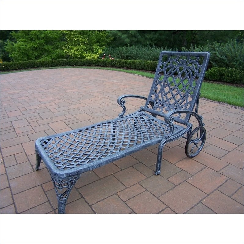 Oakland Living Mississippi Cast Aluminium Chaise Lounge in Verdi Gray