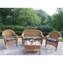 Oakland Living Resin Wicker 4 Piece Patio Set with Cushions