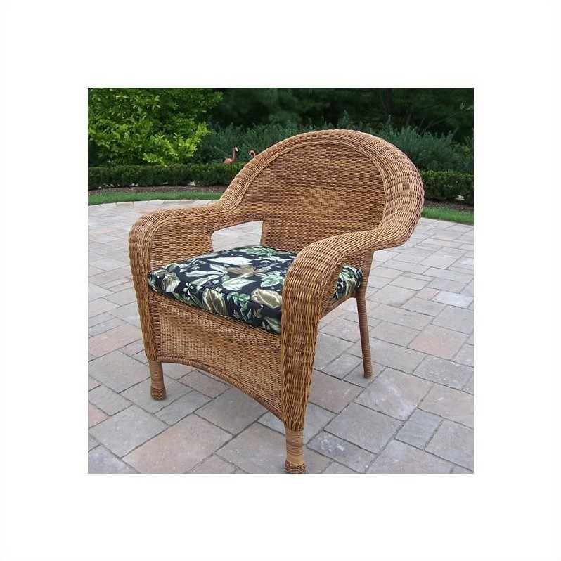 Oakland Living Resin Wicker Arm Chair with Cushion in Natural (Set of 2)