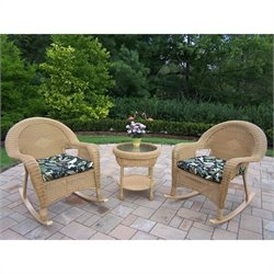 Oakland Living Resin Wicker 3 Piece Rocker Set with Cushions in Honey
