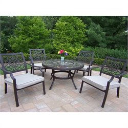 Oakland Living Stone Art 5 Piece Metal Patio Dining Set in Coffee