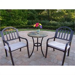 Oakland Living Stone Art Rochester 3 Piece Bistro Set in Coffee