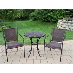 Oakland Living Stone Art Wicker 3 Piece Bistro Set in Coffee
