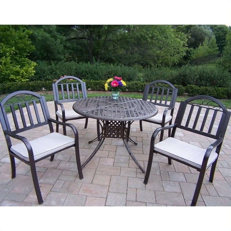 Oakland Living Elite 5 Piece Metal Patio Dining Set in Antique Bronze
