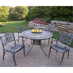 Oakland Living Sunray 5 Piece Metal Patio Dining Set in Antique Bronze II