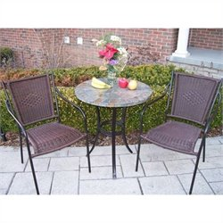 Oakland Living Stone Art 3 Piece Bistro Set in Coffee