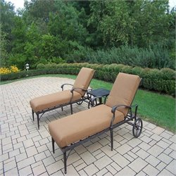 Oakland Living Belmont 3pc Chaise Lounge Set with Sunbrella Cushions in Aged