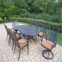 Oakland Living Belmont 9 Piece Metal Patio Dining Set in Aged