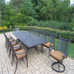 Oakland Living Belmont 13 Piece Metal Patio Dining Set in Aged