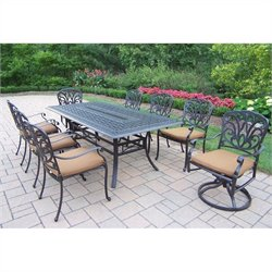Oakland Living Hampton 9 Piece Metal Patio Dining Set in Antique Black