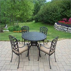 Oakland Living 5 Piece Metal Patio Dining Set in Antique Black