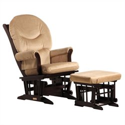 Dutailier 2 Piece Glider Set in Espresso and Light Brown