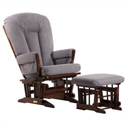 Dutailier 2 Post Glider and Ottoman Set in Coffee and Dark Gray