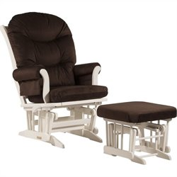 Dutailier Sleigh GliderReclinerMultiposition and Ottoman in Chocolate