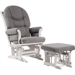 Dutailier Sleigh Glider-Multiposition and Ottoman Set in Dark Gray