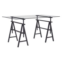 ZUO Ralston Glass Top Desk in Antique Black