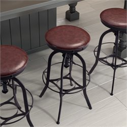 ZUO Crete Adjustable Bar Stool in Burgundy and Antique Black