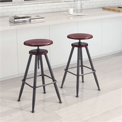 ZUO Bog Adjustable Bar Stool in Distressed Burgundy