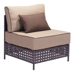 ZUO Pinery Outdoor Middle Chair in Brown and Beige