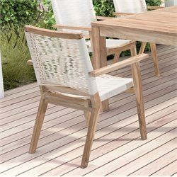 ZUO West Port Patio Dining Chair in White Wash and White