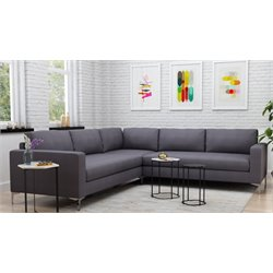 Zuo Jackson 3 Piece Sectional in Charcoal