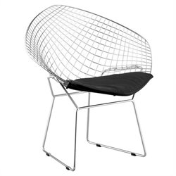 Zuo Net Fabric Dining Chair in Chrome