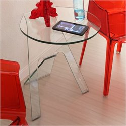 ZUO Journey Modern Tempered Glass Side Table in Tempered Glass