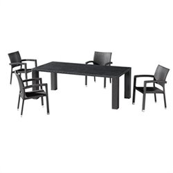 ZUO Boracay 5 Piece Patio Dining Set in Espresso